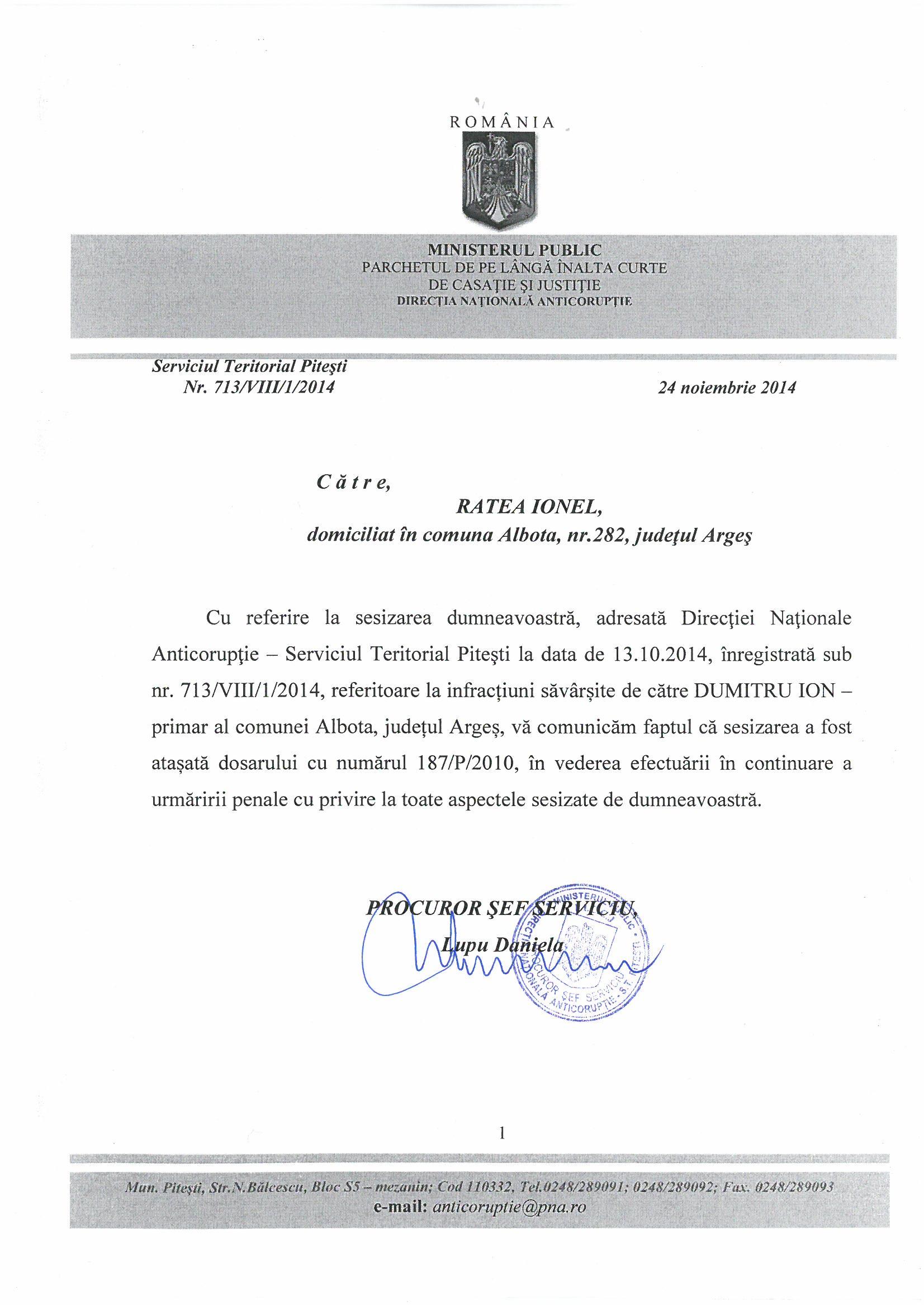 Va prezentam cele 2 comunicari ale prim-procurorului DNA Pitesti cu inceperea urmaririi penale a primarului Ion Dumitru.pdf